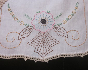 Vintage Crocheted Lace and Embroidery Dresser Set Plus One
