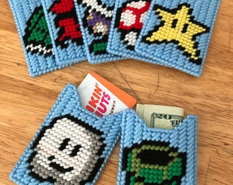 Mario Themed Gift Card Holders Set of Seven Plastic Canvas -- FREE SHIPPING