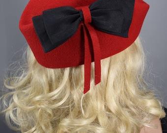 Vibrant Red Vintage 50s Capulet Hat with Wide Black Bow