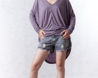 NO.156 Violet Cotton-Blend Jersey Unusual Sleeves Top V-Neck, V-Neck T-Shirt