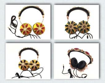 Blingustyle designer iridescent crystal fashion foldable ear-cup headphone