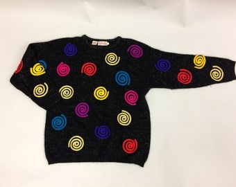 1990's Black, Multi-Color and Metallic Size Medium Petite | Angora and Lambswool Blend