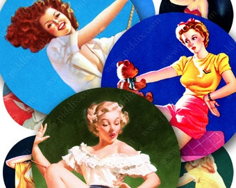 1950s Mid-Century Pin-Ups printable digital collage sheet in 2.5 inch circles -- piddix 873
