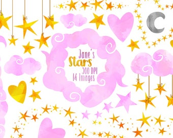 Watercolor Pink Stars and Clouds Clipart - Star Borders Download - Instant Download - Watercolor Clouds and Hanging Stars