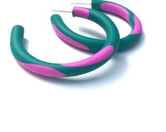 Hoop Earrings*Polymer Clay Hoops*Colourful Hoops* Fuscia Pink, Emerald Green