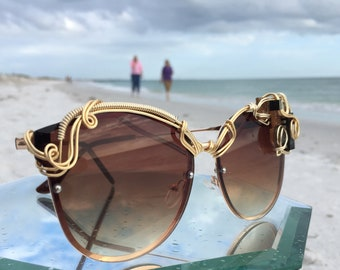 Gemstone Cat Eye Women's Sunglasses / SPUNGLASSES / Opal Labradorite Circuitry Wire Wrapped Eyewear Sunnies, Every pair is a piece of art