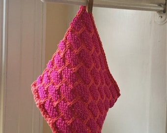 Handknit Cotton Ballband Dish Cloth in Hot Pink and Tangerine