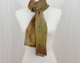 Hand Painted Chiffon Silk Scarf, Earthy, Hippie, Festival Clothing, Wearable Art, Watercolor Scarf, One of a Kind, Mori Girl