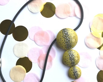 Stylish painted necklace, green statement pendant necklace, fimo pendant necklace