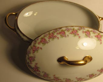Limoges Bridal Wreath Covered Serving Bowl