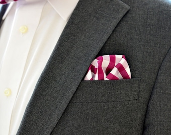 Pocket Square in Plum Check- handkerchief cotton wedding groomsmen purple wine mulberry white plaid checkered checked
