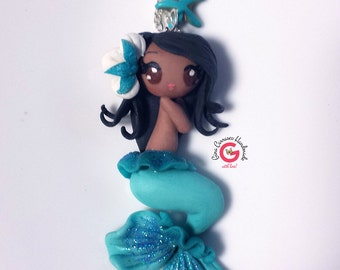 mermaid necklace, black mermaid necklace, turquoise mermaid, kawaii mermaid, black mermaid doll, african american mermaid charm, handmade