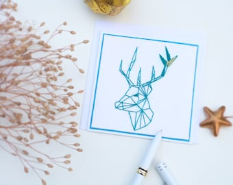 Greeting card embroidered hand - embroidered cards-greeting card-deer head totem card