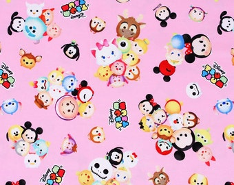 "Tsum Tsum Character Oxford Fabric made in Japan, FQ 45cm by 53cm or 18"" by 21"""