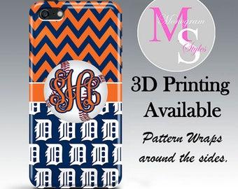 Monogram Detroit Tigers Baseball Chevron iPhone X Case Personalized Phone Case iPhone 6 7 8 Plus, iPhone 4S 5, 5S, iPhone 6, 6s, 7, 8 #5050