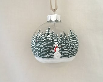 Snowman in Forest, Hand Painted Glass Ornament