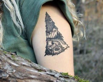 Camping In The Mountains, Pine Forest, Tent, Campfire, River Temporary Tattoo, Black Line, Nature Tattoo