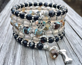 SALE Puppy Love Agate Gemstone Multi Strand Memory Wire Bracelet with Charms FREE SHIPPING