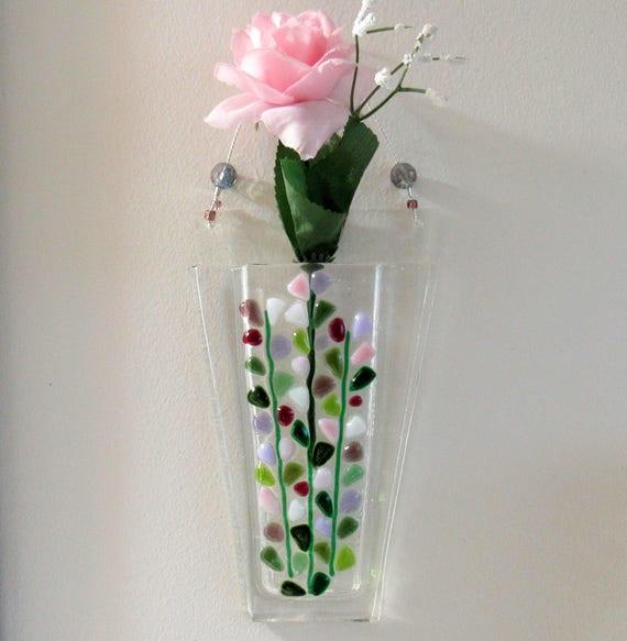Fused Glass Wall Pocket Vase Glass Flowers Vase Blooming
