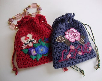 Crocheted Gift Bag, Jewelry Pouch, Gift Bag, Gift for Mom, Mother's Day Jewelry Pouch, Drawstring Pouch, Red and Blue Sold as a Pair