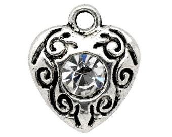 4 Rhinestone Heart  Charms, Antique Silver Tone (1K-248)