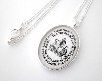Pirate Queen Nautical Silver Pendant Necklace