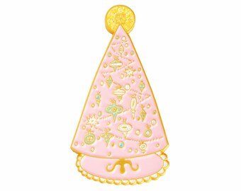 Pink Christmas tree enamel lapel pin