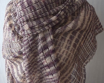 Linen Wrap Scarf Knit Shawl  Natural Summer in Eggplant Violet Cream Nude  Pink Women Accessory