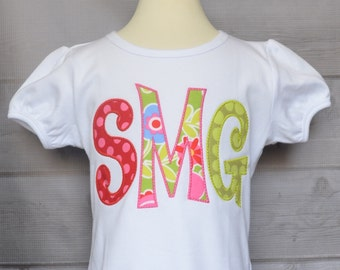 Personalized Initial Applique Shirt or Bodysuit Girl