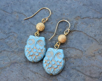 Sky Blue Owl Earrings - Gold washed aqua glass bird beads and stardust gold plated beads on 14k gold filled earwires - free shipping USA