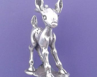 Baby DEER .925 Sterling Silver Fawn Bambi Pendant - sc1011