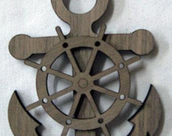Anchor / Wheel Wood Ornament