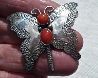 Marian Nez Silversmith Navajo Native American sterling silver BUTTERFLY with coral cabachons BROOCH