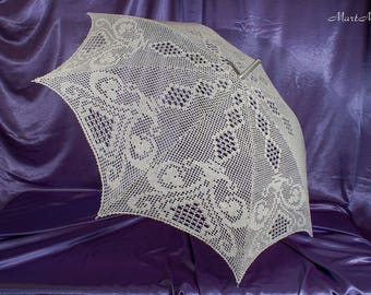 "Lace umbrella ""Rhapsody"", Umbrella Sunshade, Crochet Umbrella, Bridal Umbrella, Wedding Lace Parasol, Wedding Photo Props"