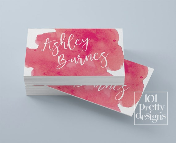 Watercolor business card template pink printable business card like this item fbccfo Image collections