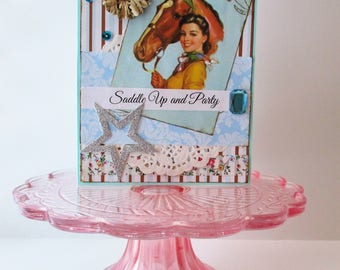 Birthday Handmade Card Cowgirl West Horse Vintage Style Greeting