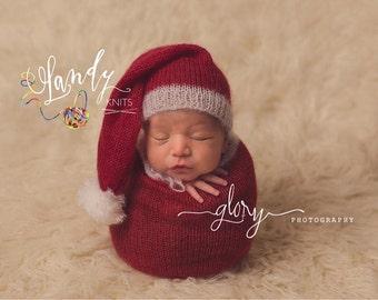 Newborn Santa photo prop, photo prop, Santa snuggle sack and hat, Christmas photo prop, mohair, newborn Christmas, Santa outfit, Santa hat,