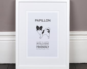 Papillon Print Gift Picture Art Artwork Illustration Text Typography