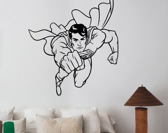 Superman Vinyl Decal Wall Sticker DC Comics Super hero Art Decorations for Home Housewares Teen Kids Boys Room Bedroom Cartoon Decor sup8