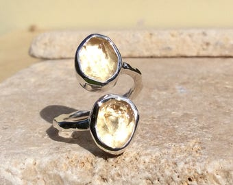 Boho Silver Ring, Raw Gemstone Ring, Citrine Silver Ring, Dual Stone Ring, Double Stone Ring, Adjustable Silver Stone Ring, Citrine Ring