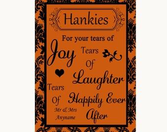 Burnt Orange Damask Hankies And Tissues Personalised Wedding Sign