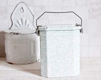 Vintage French Mint & White Enamel Lunch Box || Antique Graniteware Pail - French Home Decor