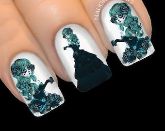 Teal GOTHIC GODDESS Sugar Skull Day of Dead Halloween Nail Water Transfer Decal Sticker Art Tattoo #NNC-420