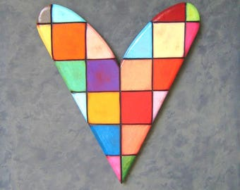 Checkered Heart, Original Wood Wall Sculpture, Heart Wall Art, Wood Carving, Wall Decor, by Fig Jam Studio