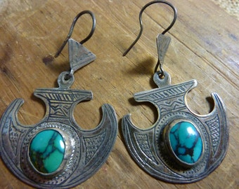 STERLING HILL TRIBE Turquoise  etched earrings
