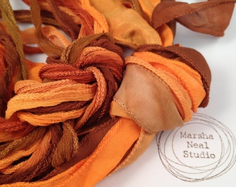 Hand Dyed Silk Ribbon - Silky Ribbon - Fairy Ribbon - Jewelry Supplies - Wrap Bracelet - Craft Supplies - Copper Pumpkin Color Palette