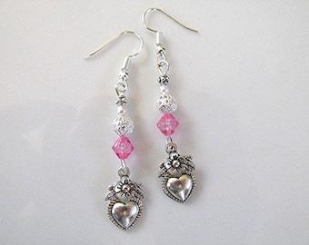 Heart earrings charm earrings crystal bead dangle earrings pink faceted crystal bead silver tone boho earrings hippie earrings gift.