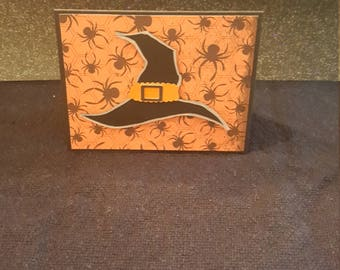 Handmade Halloween Card - Witch's Hat with Sentiment Inside