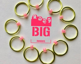 Knitting stitch markers big ringos snag free  notions  LARGE  rings green pink - LIME SALSA