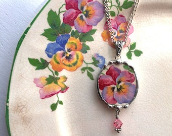 Dishfunctional Designs - Broken china jewelry - pink and purple pansy broken china jewelry oval pendant necklace crystals